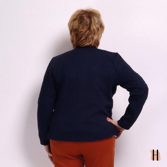 Vestjasje met Structuur en Ritszakjes in Donker Blauw