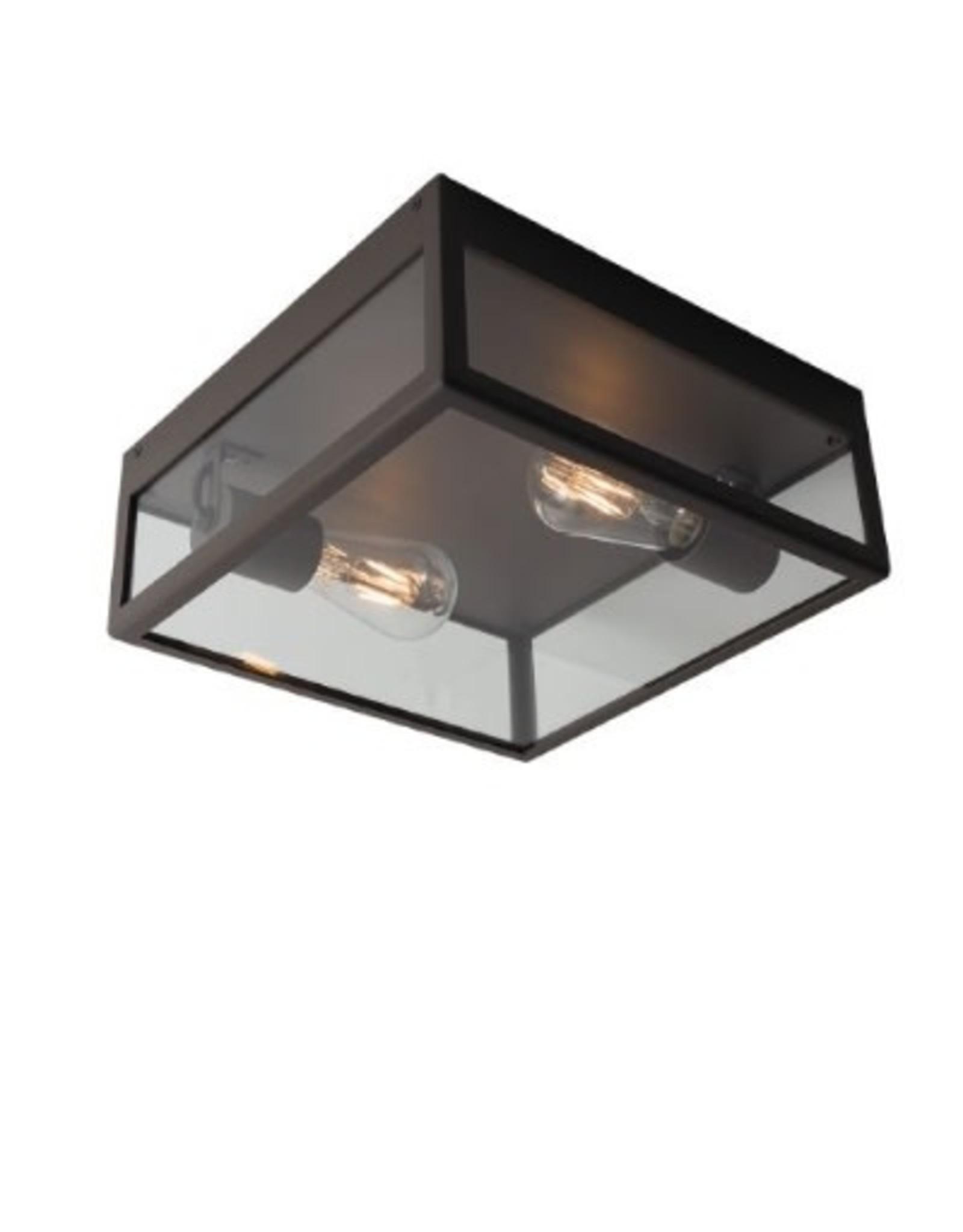 psm lighting POLO opbouw plafondverlichting E27 60W IP44 L320xB320xH128 zwart textuur