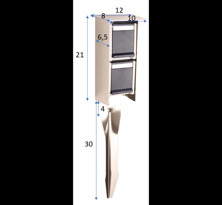 Prik stopcontact dubbel - RVS - Antraciet