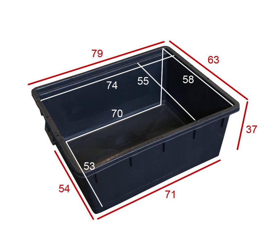 Rechthoek kuip 150 liter / 80 x 63 x 38 cm.