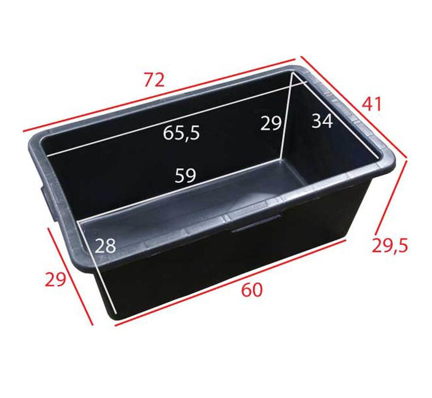 Rechthoek kuip 65 liter - 72 x 41 x 30 cm.