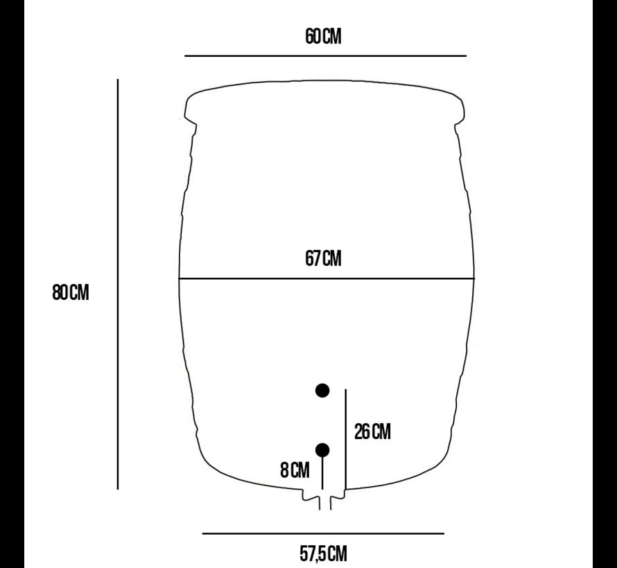 Regentonset Roto 240 liter + voet + vulautomaat
