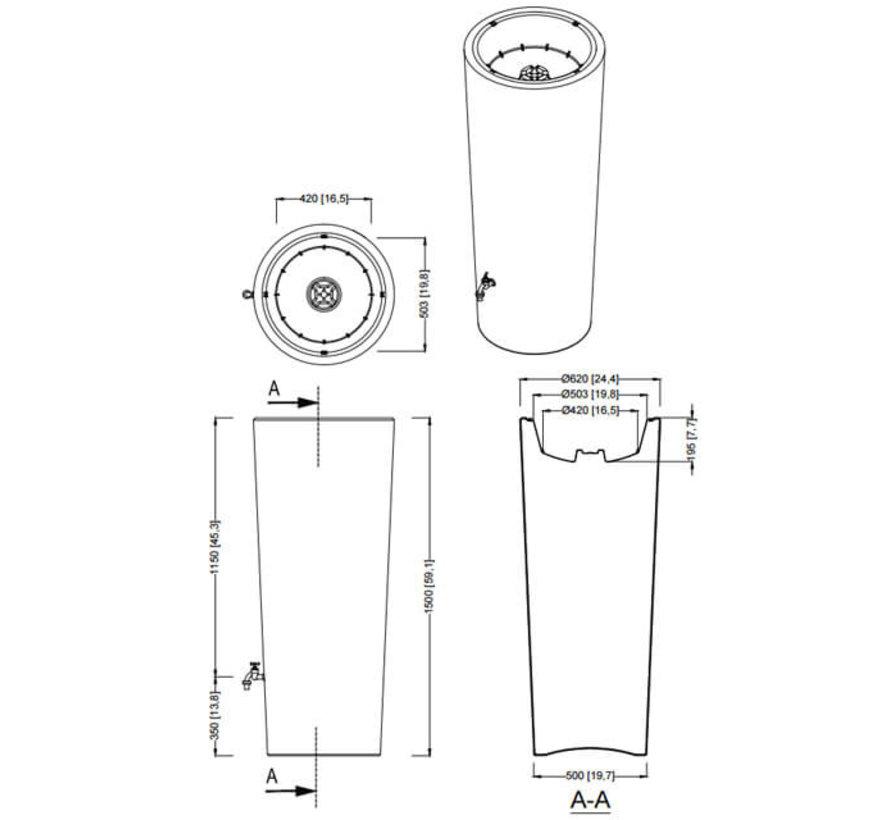 Regenton 2 in 1 - 350 Liter - Ocean + Vulautomaat