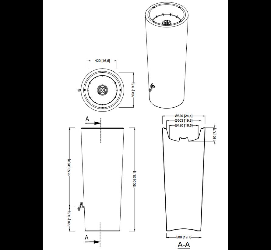 Regenton 2 in 1 - 350 Liter - Artic + Vulautomaat