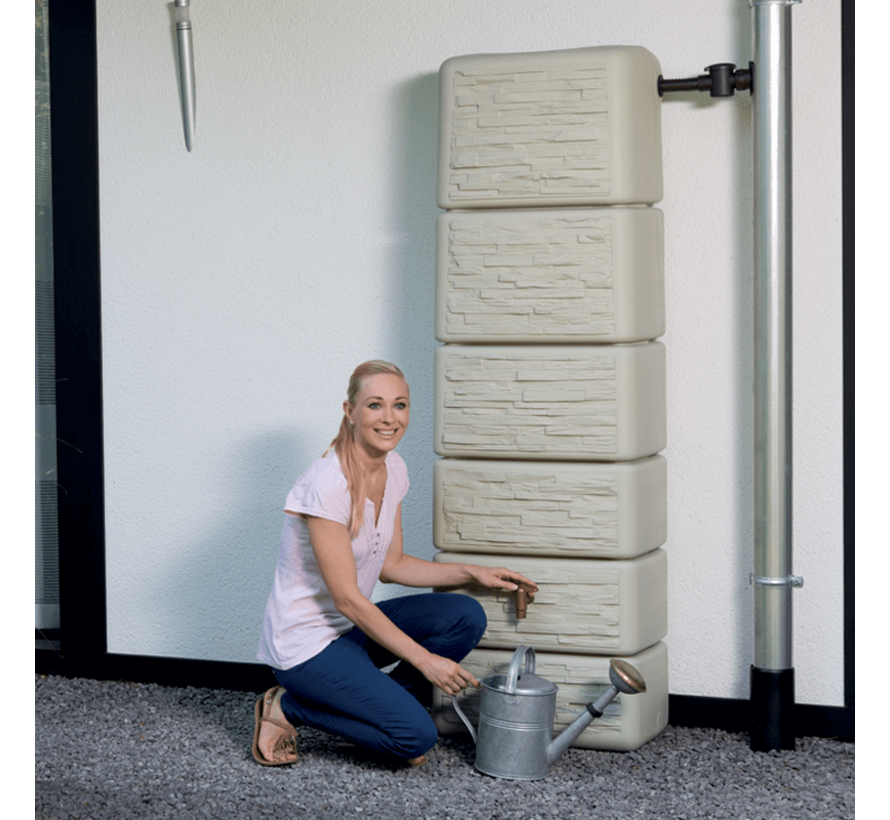 Regenton Slim - Stone Decor - 300 liter - Beige