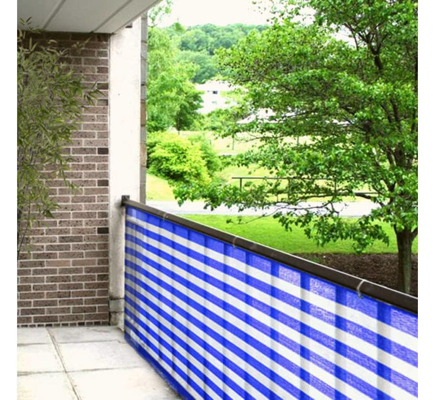 Balkondoek - Blauw / Wit - 0,9 x 5 meter