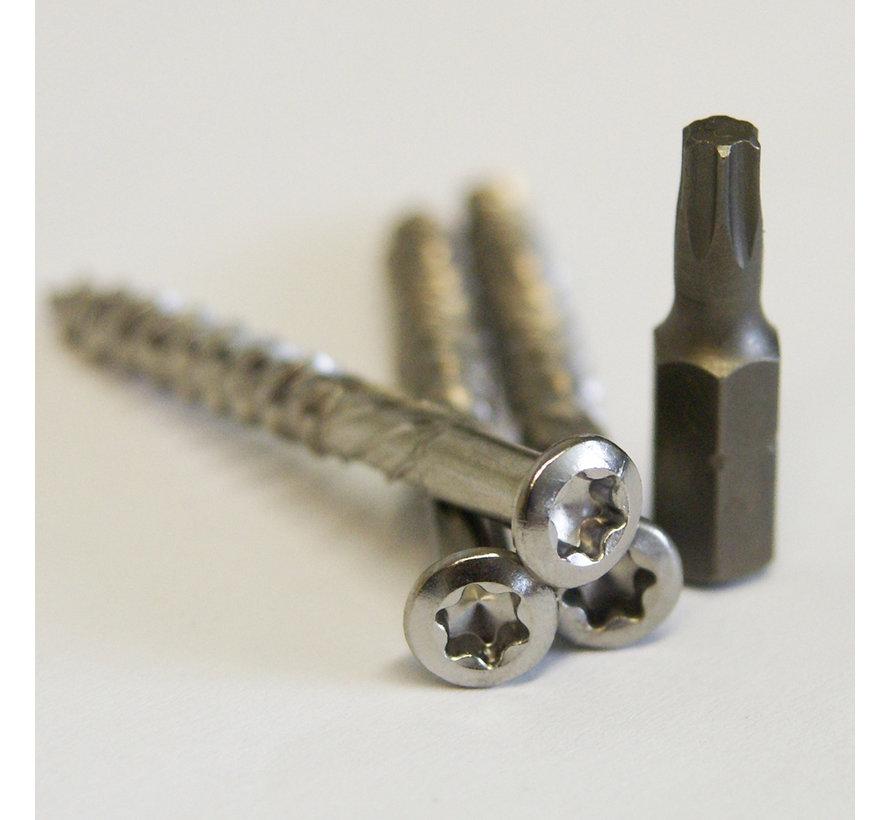 Vlonderschroeven 5,0 x 70 mm - RVS 100 stuks + 2 bitjes - Torx
