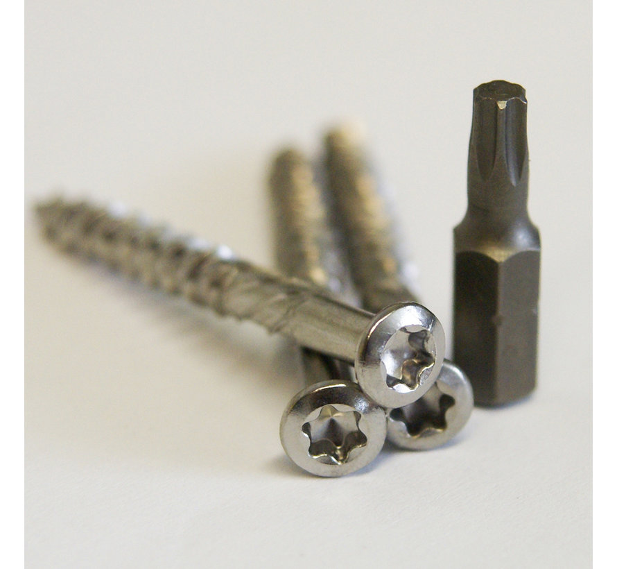 Vlonderschroeven RVS 100 st. + 2 bitjes - Torx 5,0 x 70mm