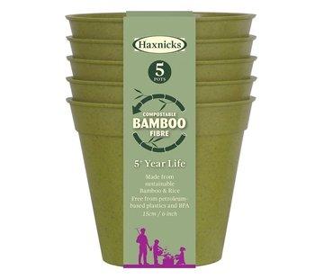 Haxnicks Bamboe bloempot - Groot - 5 stuks - 12,5 cm