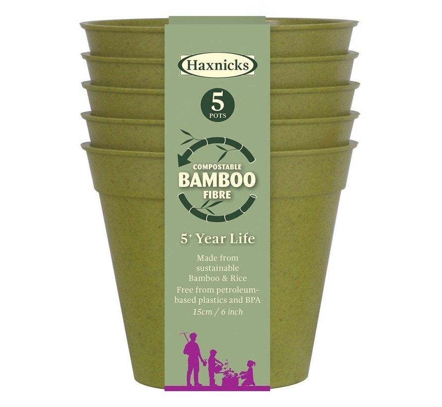 Bamboe bloempot - Extra groot - 5 stuks - 15 cm