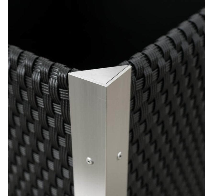 Plantenbak Aluminium - Polyrotan - 46 x 46 x 46 cm