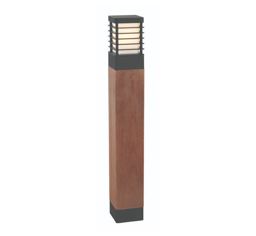 Staande buitenlamp - 85cm - Selham - Zwart + Hout