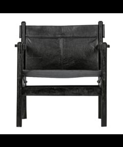 Chill fauteuil echt leer zwart