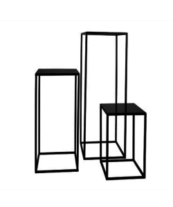 S/3 PLANTSTANDS IRON & BLACK STONE