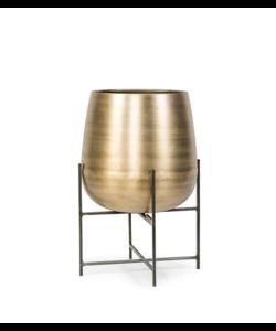 Planter brass antique pot & stand black
