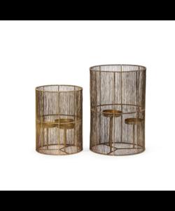 Wired hurricane for 3 candles brass antique - in 2 maten te verkrijgen
