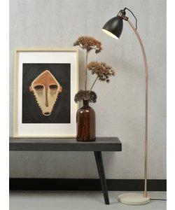 Vloerlamp ijzer betonnen voet / koperen buis Denver, zwart