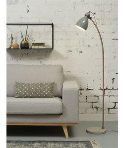 Vloerlamp ijzer betonnen voet / koperen buis Denver, licht grijs