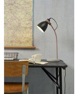 Tafellamp ijzeren betonnen voet / koperen buis Denver, zwart