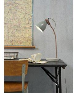 Tafellamp ijzeren betonnen voet / koperen buis Denver, licht grijs