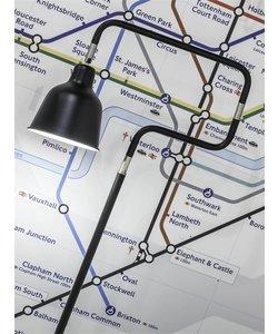 Vloerlamp ijzer / buis London, zwart