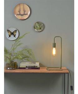 Tafellamp ijzer / buis London, olijf groen