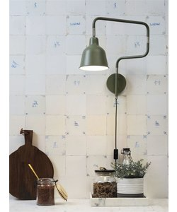 Wandlamp ijzer / buis London, olijf groen