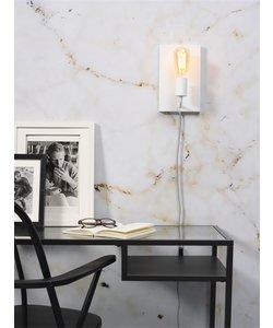 Wandlamp ijzer Madrid wit, L