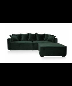 Lima 3,5 seater zetel + pouf kleur velvet groen