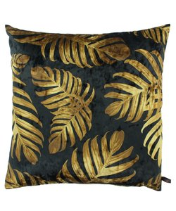 Kussen Jungle Leaves Ice - Black/Gold