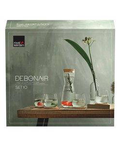10-delige Set met Karaf 1l, 4 Bekerglazen 37cl en 4 Glasonderzetters in Kurk Debonair