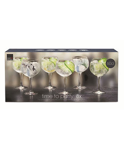 8 Gin&Tonic Glazen Time to Party 65cl