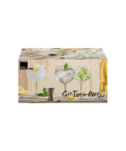 6 Gin&Tonic Glazen, Jigger en Barspoon Time to Party 65cl