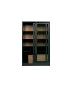 James vitrinekast noten/zwart