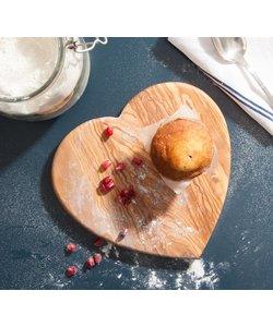 Hartvormige Snijplank in Olijfhout - in 3 maten te verkrijgen