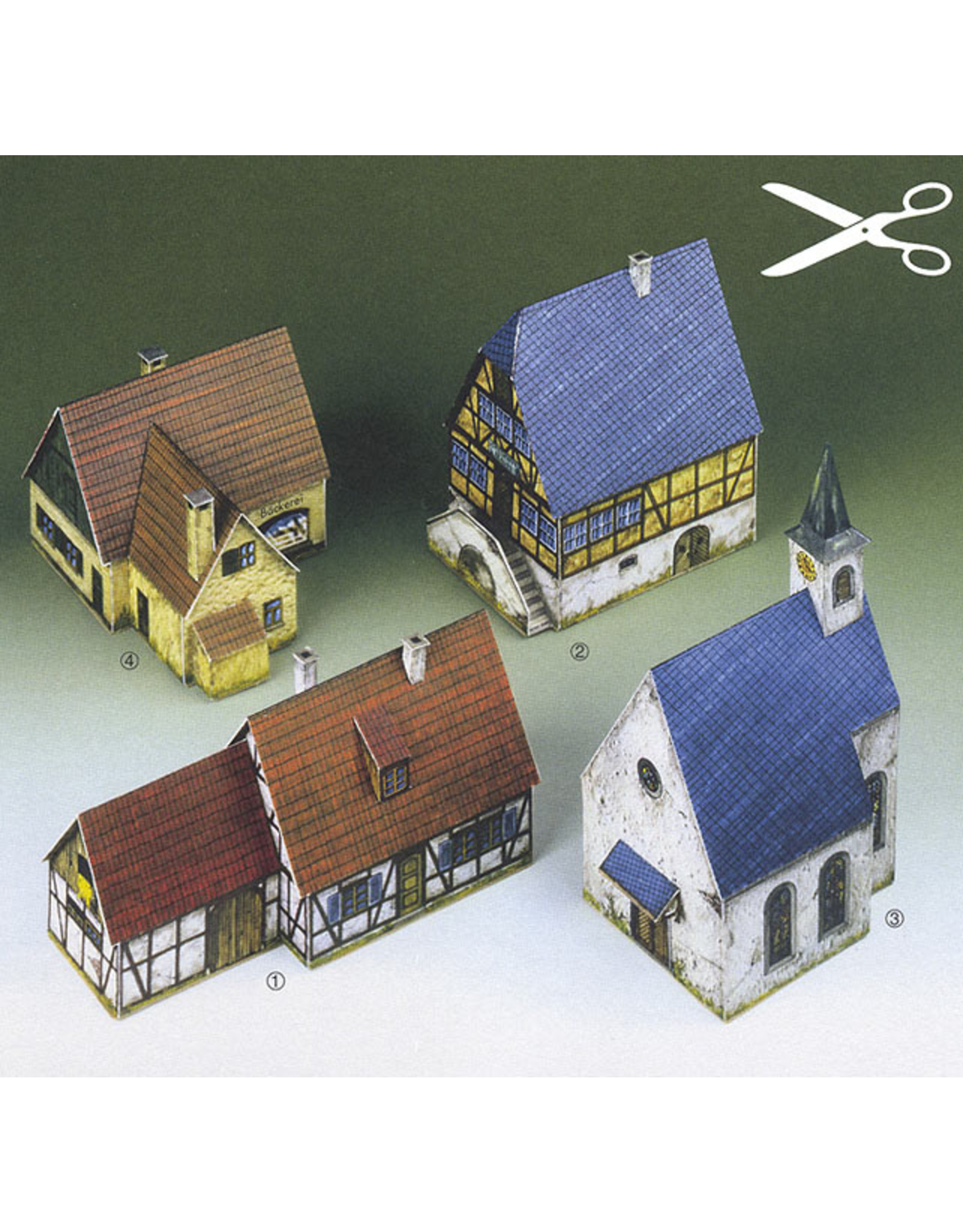 Schreiber-Bogen Vier kleine gebouwen (bouwplaat 1:160)