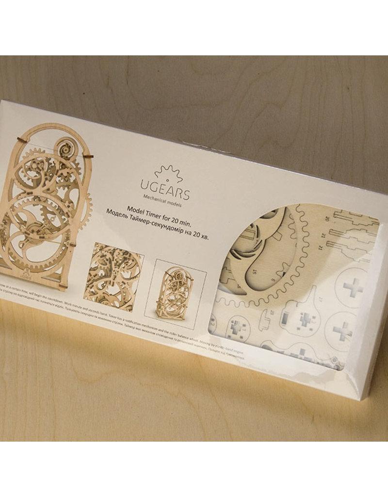 Ugears mechanische 3D-bouwpakketten Timer - Kookwekker (mechanisch houten 3D-bouwpakket)