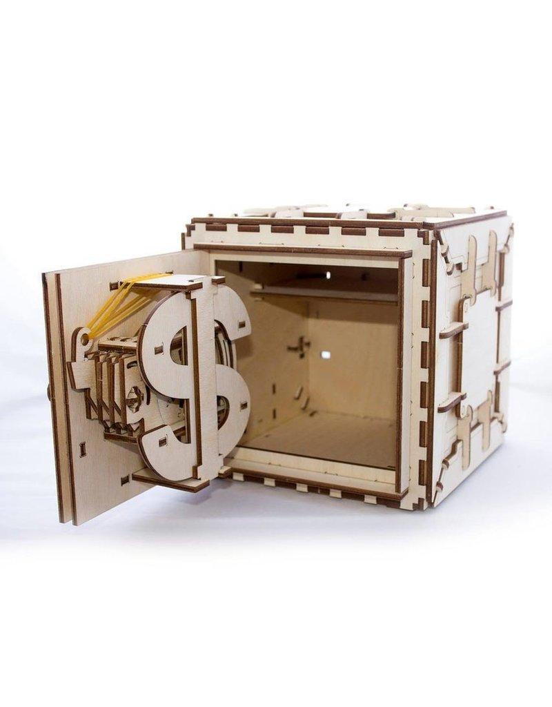Ugears mechanische 3D-bouwpakketten Kluis (mechanisch houten 3D-bouwpakket)