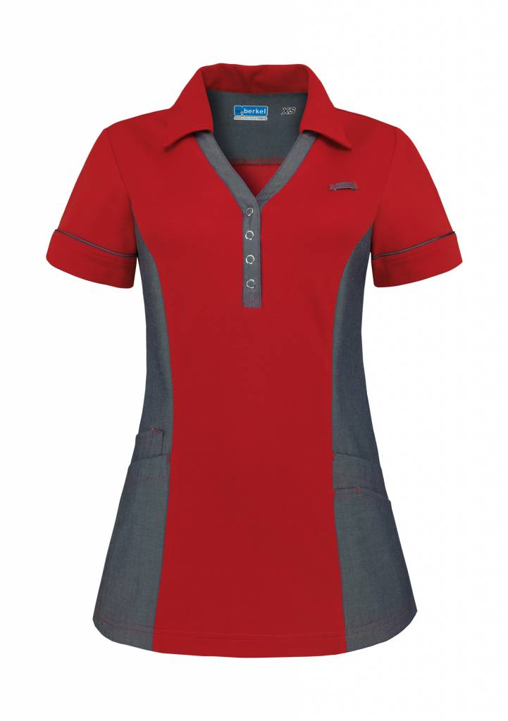 De Berkel Dames Polo Trix kersenrood-denim