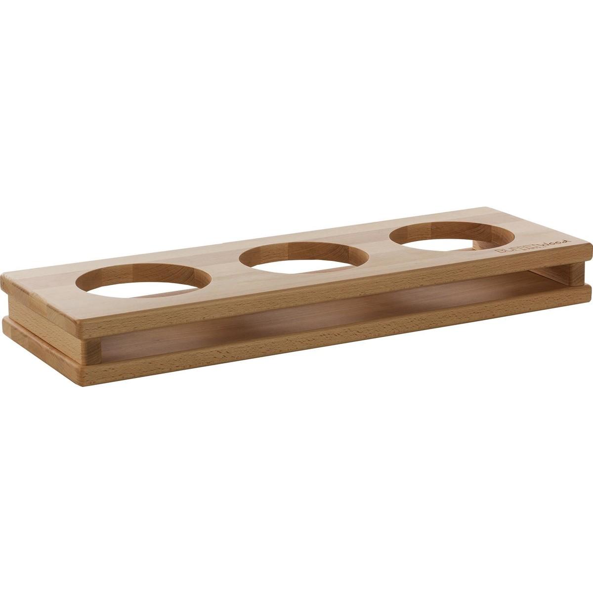 """Display """"Wood"""" 3 Aussparungen Ø 13cm"""