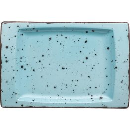 "Porzellanserie ""Granja"" aqua Platte flach eckig, 18 x 12 cm"