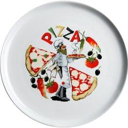 """Pizzateller weiß mit Dekor """"Pizza"""" Ø 30 cm"""