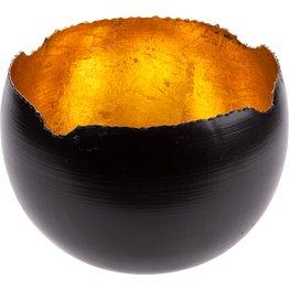 Teelichthalter schwarz/gold, rund Ø 18cm - NEU