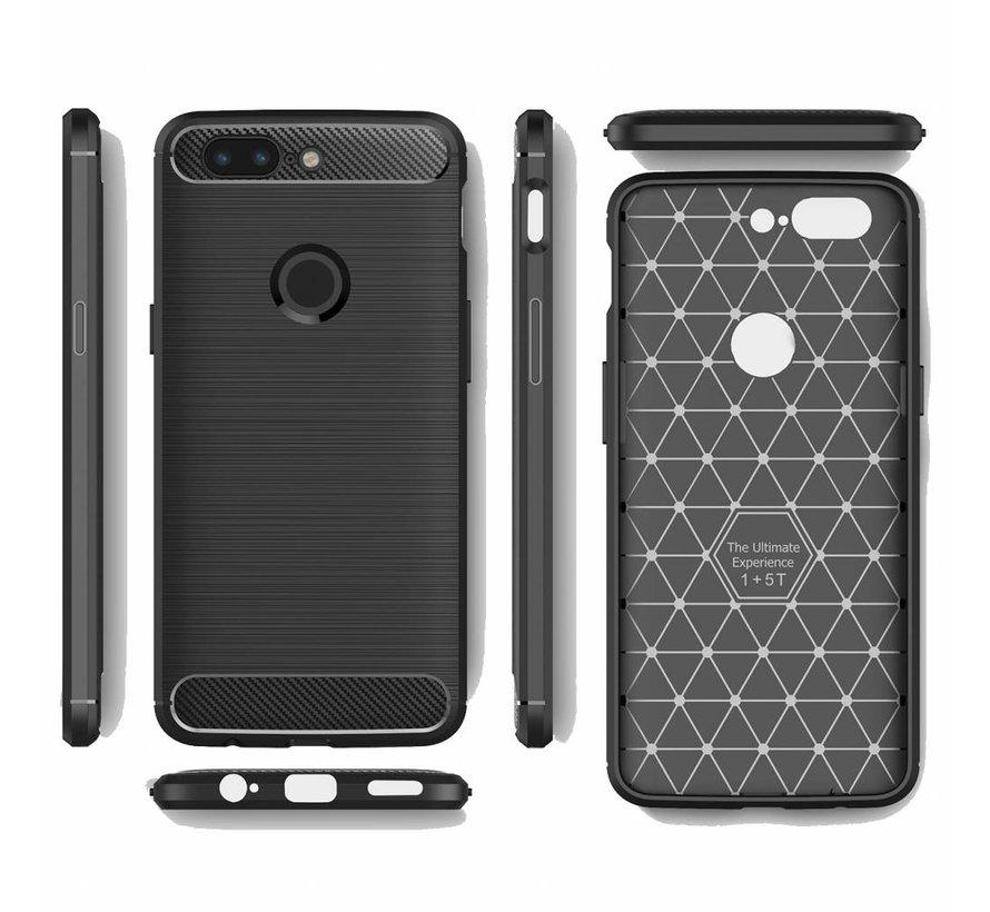 Carbon Fiber Design Hülle Grau OnePlus 5T