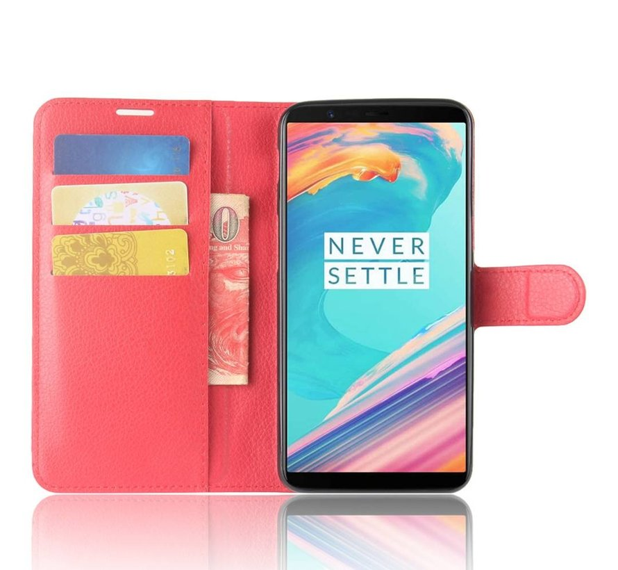 Booktype Klapp Hülle Rot OnePlus 5T