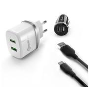 Multiline PowerKit 2.4A/2.1A AutoLadegerät + ReisLadegerät + USB C Kabel