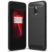 OPPRO OnePlus 6T Hülle Brushed Carbon Schwarz