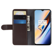 OPPRO OnePlus 6T Booktype Hülle Echtes Leder Braun