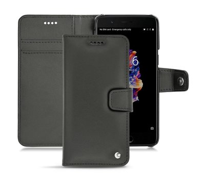 Noreve OnePlus 3/3T Booktype Hülle Echtes Leder Schwarz