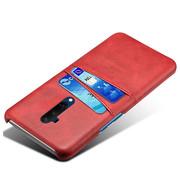 OPPRO OnePlus 7T Pro Case Slim Leder Kartenhalter Rot
